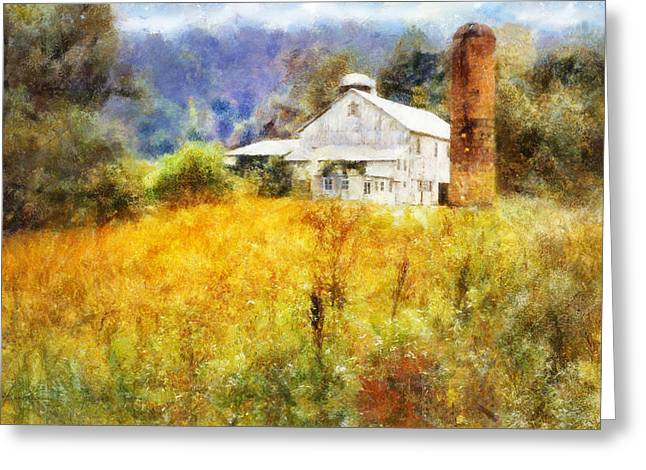 Autumn Barn In The Morning Greeting Card by Francesa Miller