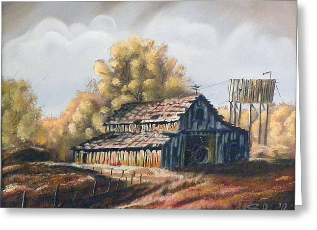Greeting Card featuring the painting Autumn Barnyard by Sherril Porter