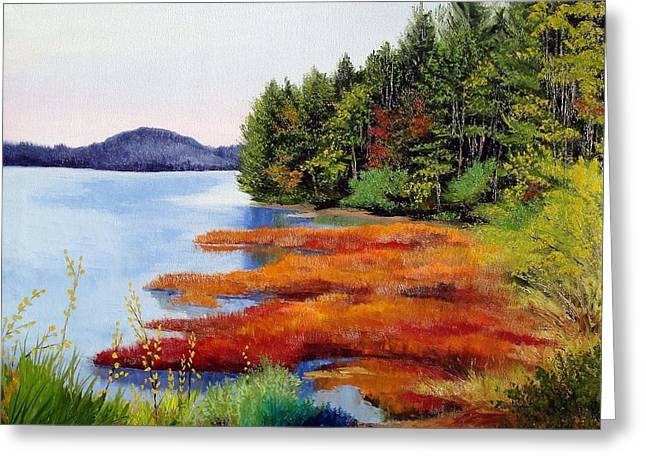 Autumn Bay Marsh Greeting Card by Laura Tasheiko