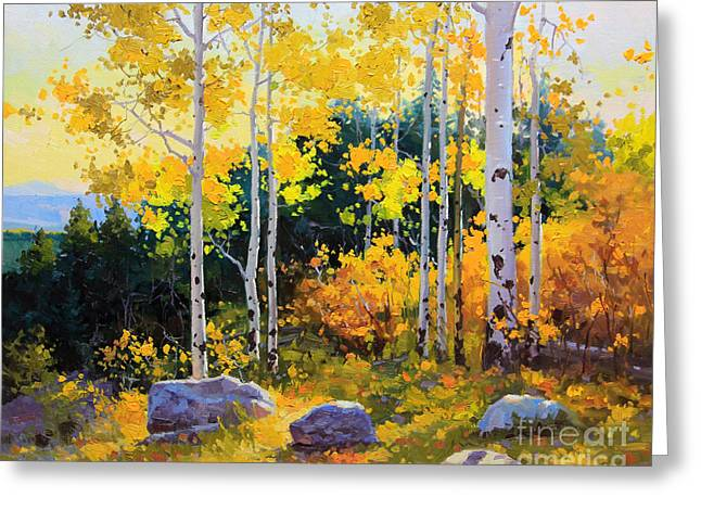 Leaves Paintings Greeting Cards - Autumn beauty of Sangre de Cristo mountain Greeting Card by Gary Kim