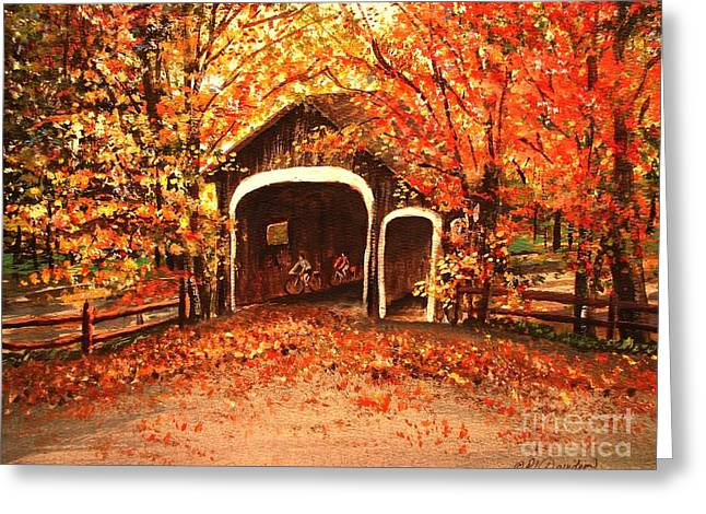 Greeting Card featuring the painting Autumn Bike Ride by Patricia L Davidson
