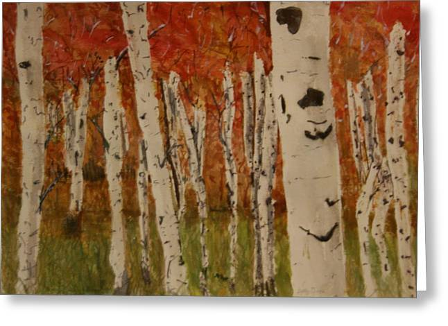 Autumn Birch Forest Greeting Card by Betty-Anne McDonald