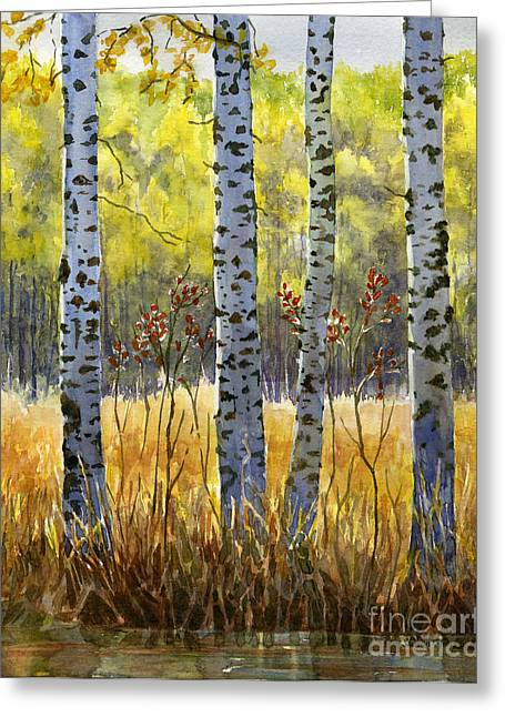 Autumn Birch Trees In Shadow Greeting Card by Sharon Freeman