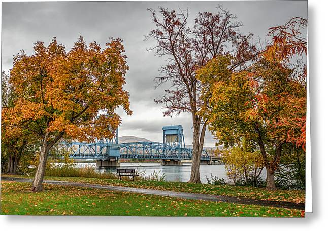 Autumn Blue Bridge Greeting Card by Brad Stinson