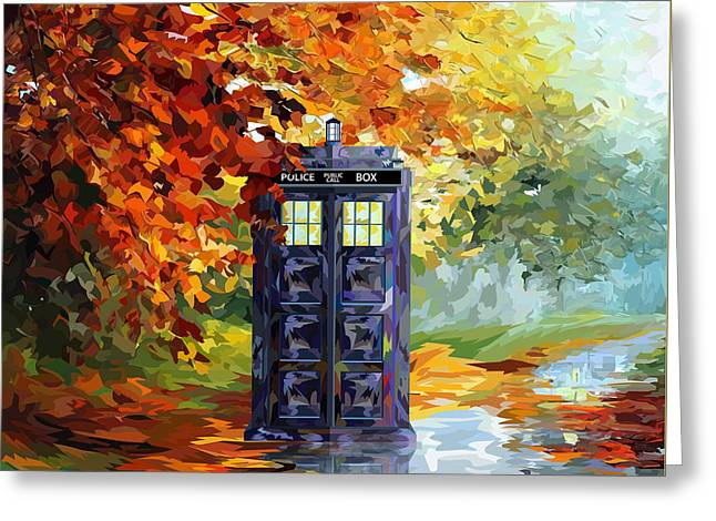 Autumn Blue Phone Box Greeting Card by Three Second