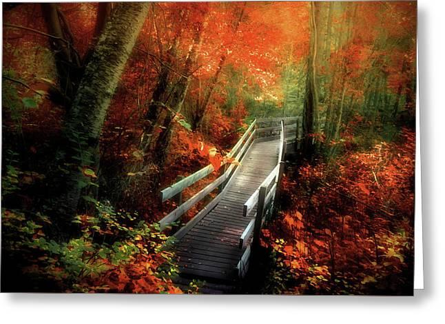 Autumn Boardwalk Greeting Card by Tara Turner