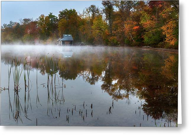 Autumn Boathouse Greeting Card by Bill Wakeley