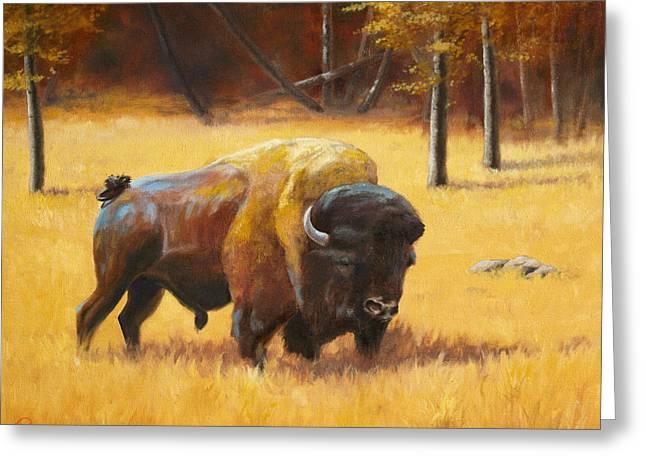 Autumn Bull Greeting Card by Patrick Entenmann