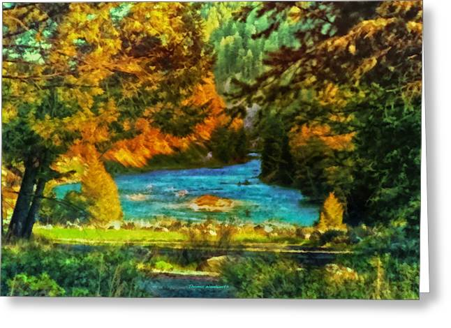 Autumn By A Montana Pond Greeting Card by Thomas Woolworth