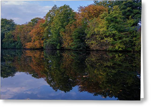 Greeting Card featuring the photograph Autumn By The Pond by RKAB Works