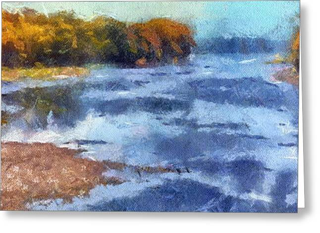 Autumn By The River Greeting Card by Thomas Woolworth