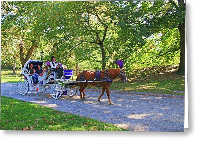 Autumn Carriage Ride Greeting Card by Allen Beatty