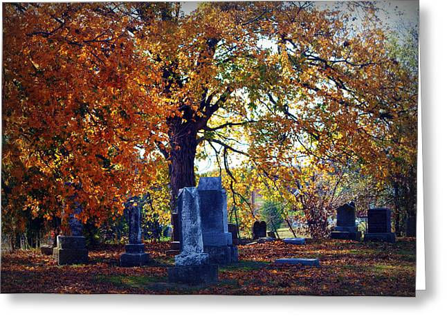 Autumn Cemetery Greeting Card by Cricket Hackmann