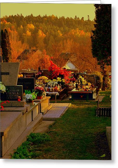 Autumn Cemetery Greeting Card