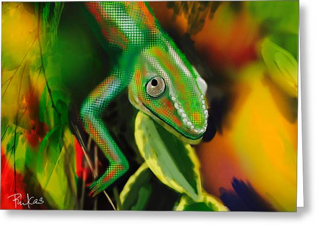 Autumn Chameleon Greeting Card by Diana Riukas
