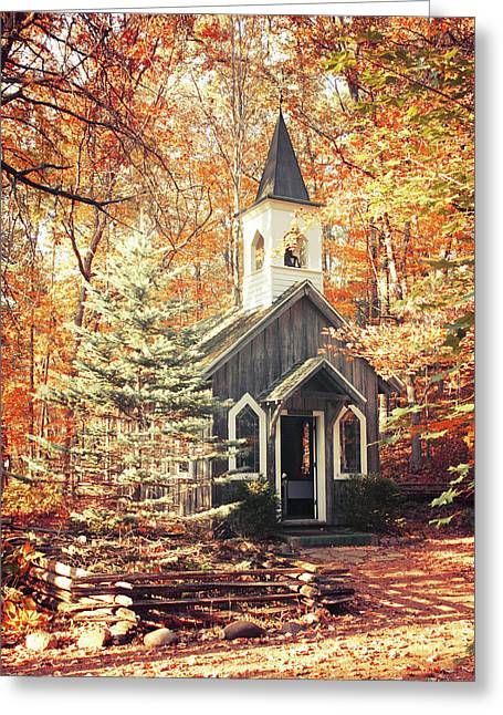 Autumn Chapel Greeting Card by Joel Witmeyer
