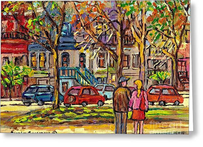 Autumn City Scene Carre St Louis Couple Strolling Le Plateau Montreal Urban Art Carole Spandau       Greeting Card by Carole Spandau