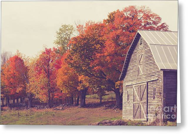 Autumn Color On The Old Farm Greeting Card by Edward Fielding