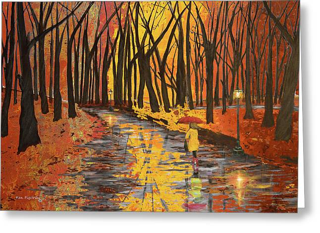 Autumn Colors In The Park Greeting Card by Ken Figurski