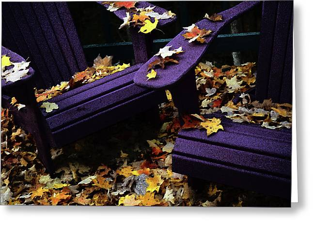Autumn Colors On The Deck Greeting Card by Wayne King