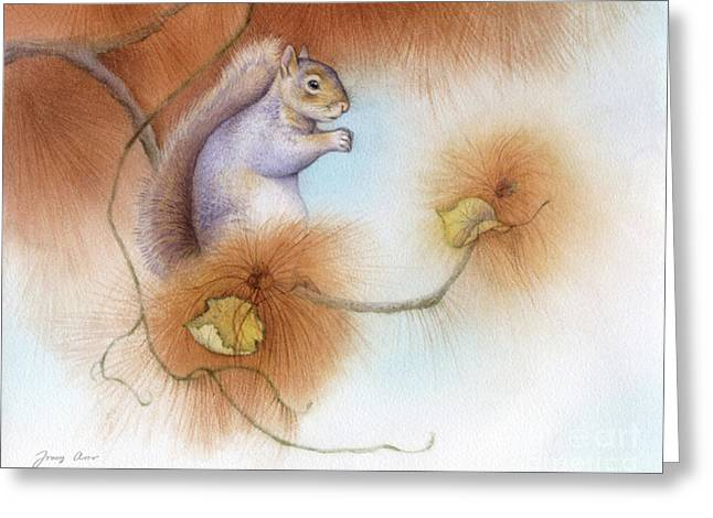 Autumn Come Softly Squirrel Greeting Card by Tracy Herrmann