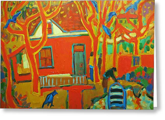 Autumn Cottages Greeting Card by Brian Simons
