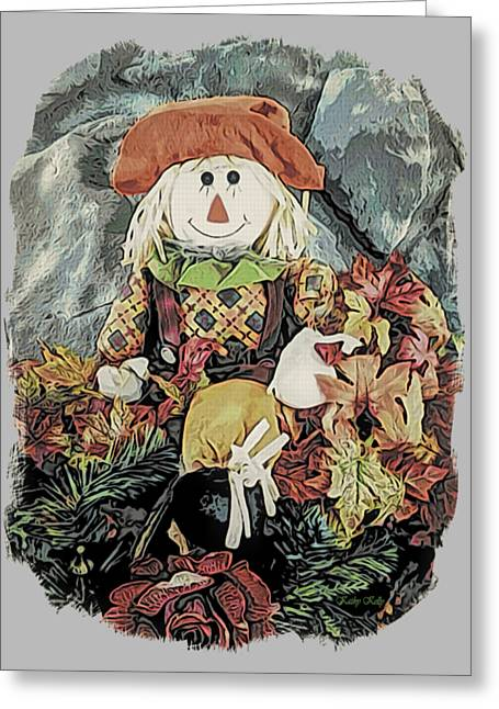 Greeting Card featuring the digital art Autumn Country Scarecrow by Kathy Kelly