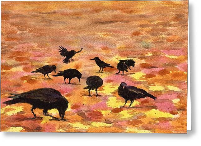 Autumn Crows Greeting Card by Mimi Boothby