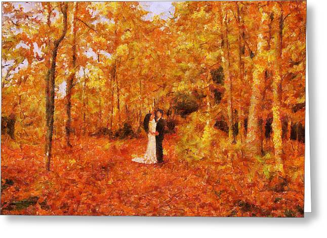 In Love Couple Greeting Cards - Autumn Dance Greeting Card by Jai Johnson