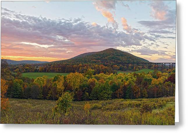 Autumn Dawn At Moodna Viaduct Trestle Panorama  Greeting Card