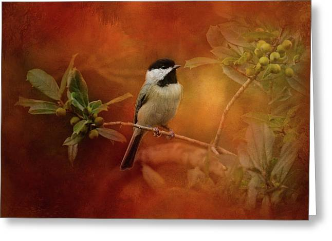 Autumn Day Chickadee Bird Art Greeting Card