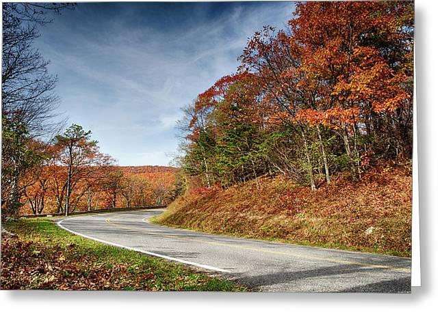 Autumn Dreams Around The Bend Greeting Card by Lara Ellis