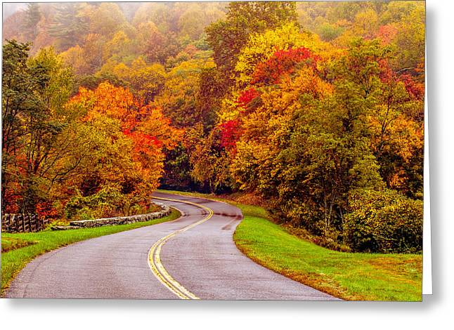 Autumn Drive On The Blue Ridge Greeting Card by Alex Grichenko