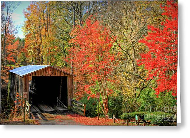 Autumn Elder Mill Covered Bridge Greeting Card by Reid Callaway