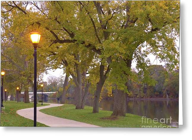 Autumn Evening Along The River     November    Indiana Greeting Card