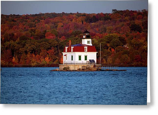 Autumn Evening At Esopus Lighthouse Greeting Card by Jeff Severson