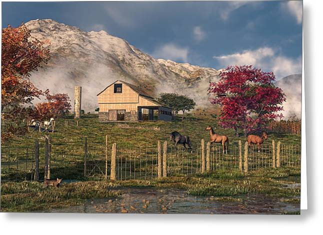 Autumn Farm Greeting Card by Mary Almond