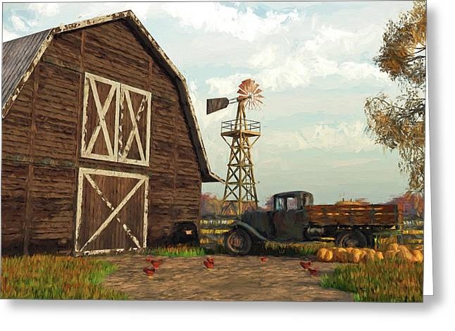 Autumn Farm Scene Greeting Card by Jayne Wilson