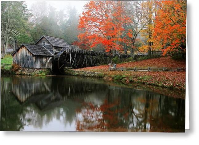 Autumn Foggy Morning At Mabry Mill Virginia  Greeting Card