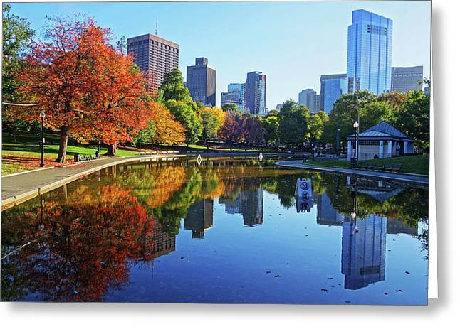 Autumn Foliage On The Boston Common Frog Pond Greeting Card by Toby McGuire