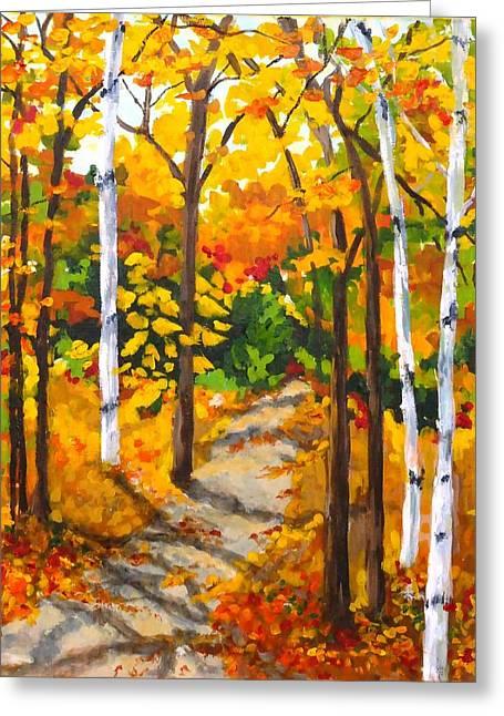 Autumn Forest Trail Greeting Card by Diane Arlitt