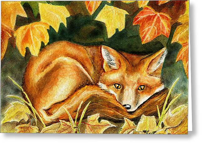 Yellow Brown Greeting Cards - Autumn Fox Greeting Card by Antony Galbraith