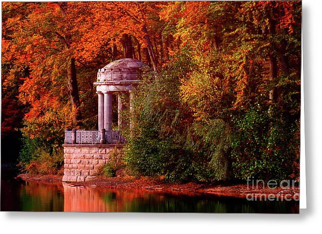 Autumn Gazebo Greeting Card by KaFra Art