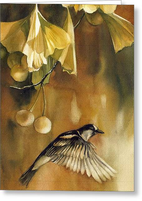 Autumn Ginkgo With Sparrow Greeting Card