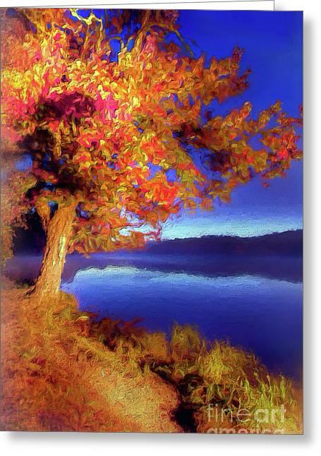 Greeting Card featuring the digital art Autumn Glow Before Sunrise In The Blue Ridge Ap by Dan Carmichael