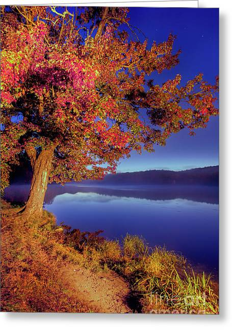 Greeting Card featuring the photograph Autumn Glow Before Sunrise In The Blue Ridge by Dan Carmichael