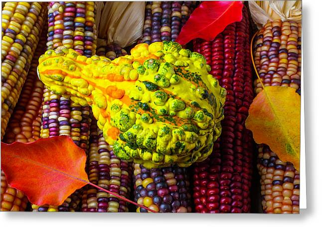 Autumn Gourd With Corn Greeting Card by Garry Gay