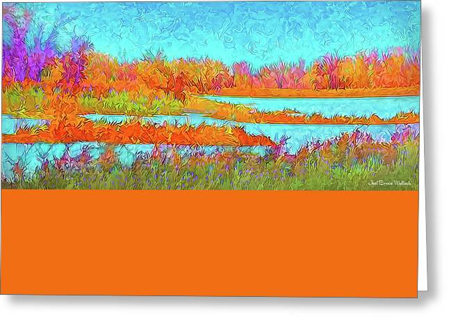 Greeting Card featuring the digital art Autumn Grassy Meadow With Floating Lakes by Joel Bruce Wallach