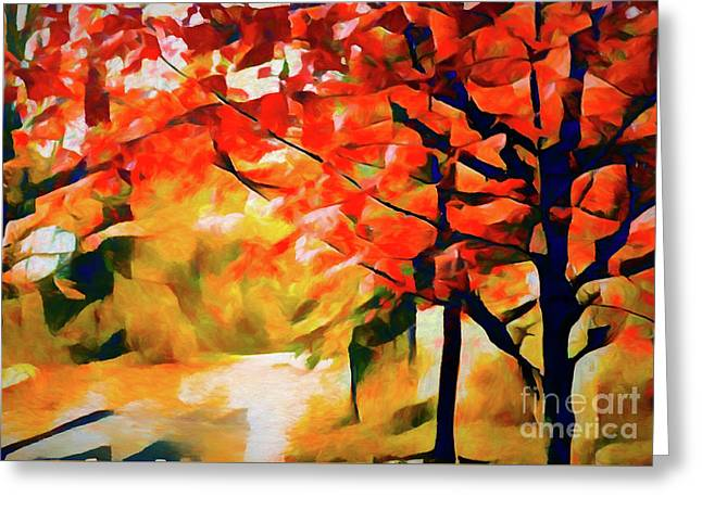 Glorious Foliage On The Rail Trail - Abstract Greeting Card