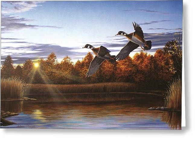 Autumn Home - Wood Ducks Greeting Card